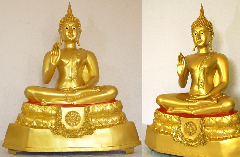 buddha tempelbuddha gold bis 114 cm statue figur meditation tempelw chter kaufen bei. Black Bedroom Furniture Sets. Home Design Ideas