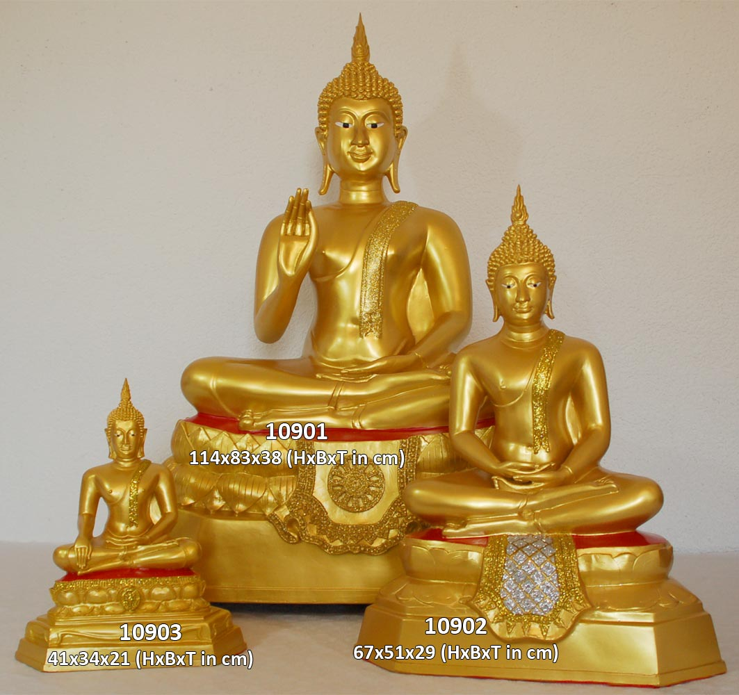 buddha tempelbuddha gold bis 114 cm statue figur meditation tempelw chter ebay. Black Bedroom Furniture Sets. Home Design Ideas