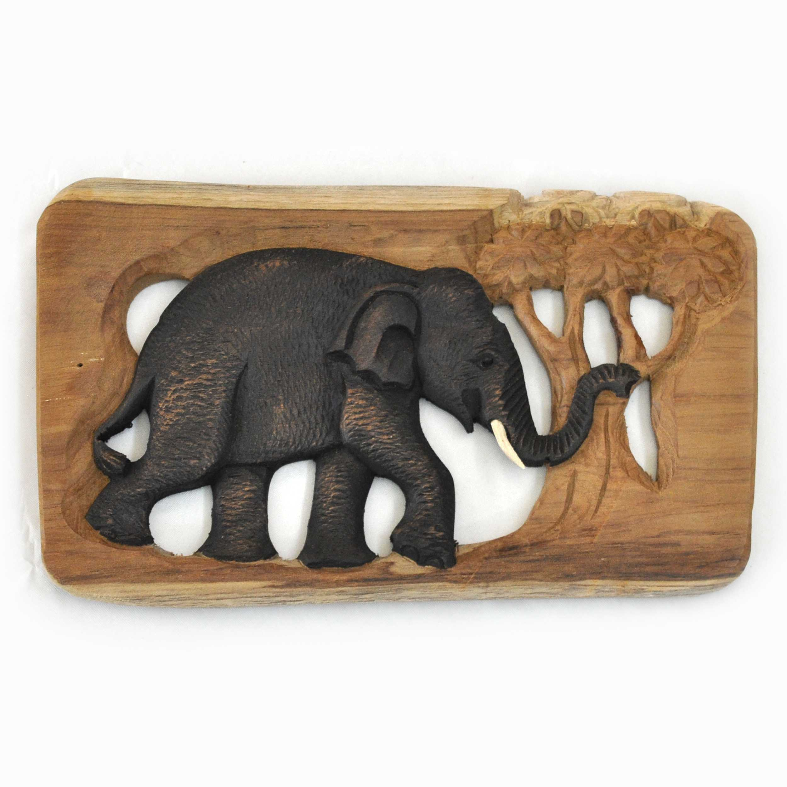 Wooden wall deco Elephants