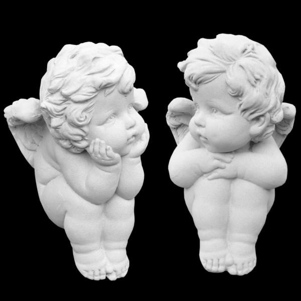 Steinguss Figur 2 kleine sitzende Amor