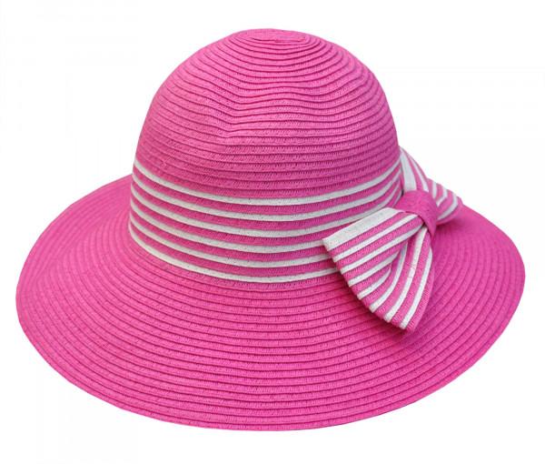 Sommerhut mit Schleife pink