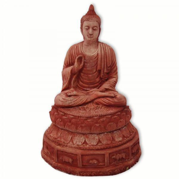 kleiner Buddha in rot aus Sandstein