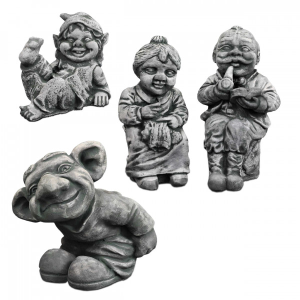 Different garden figures: gnome troll / grandparent / elf dwarf