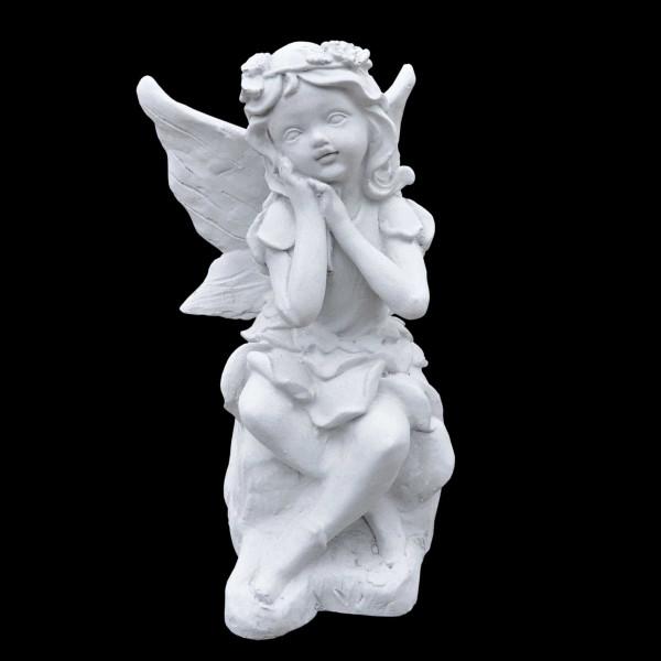 Steinguss Figur sitzende Elfe