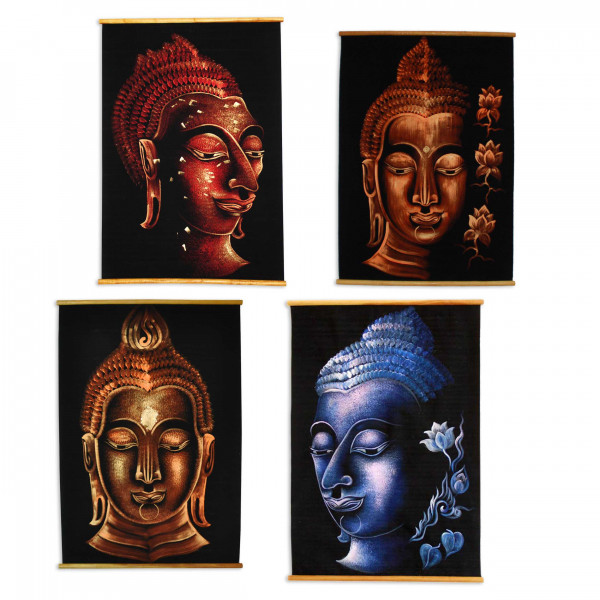 Asian wall hanging, Buddha face painted on fabric