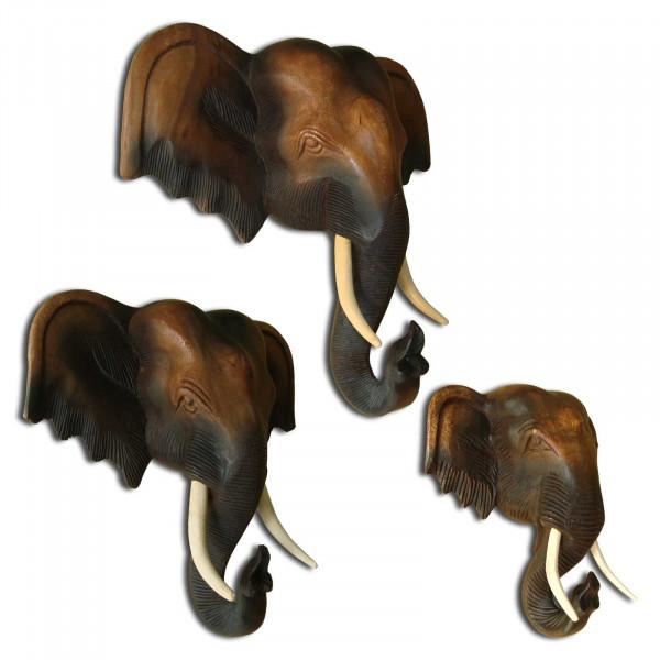 Tête d'éléphant exclusive fabriquée à la main à partir de bois massif