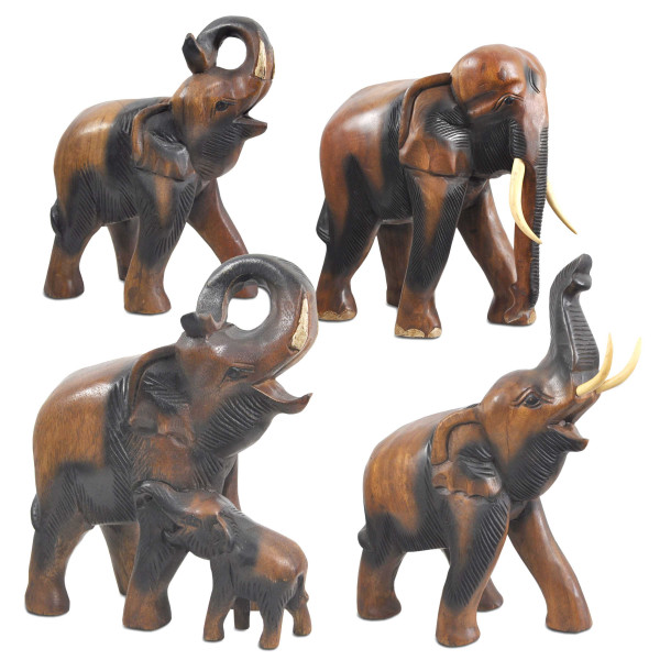 Elephant sculptures and figures handcrafted in Thailand from acacia wood, unique