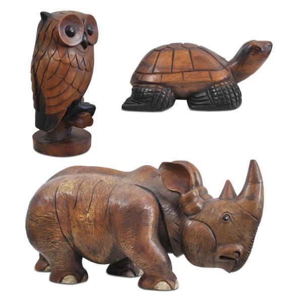 Tierfigur Schildkröte Nashorn Eule Echtholz Handarbeit geschnitzt Unikat