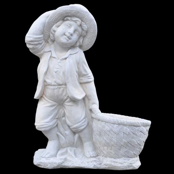 Steinguss Figur Junge zieht Korb