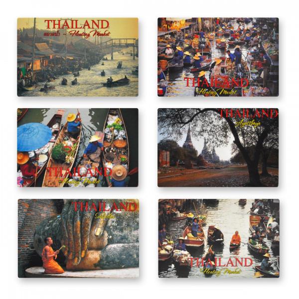 Magnet plat avec photo de Thaïlande - Dimensions : 8,5x5,5 cm