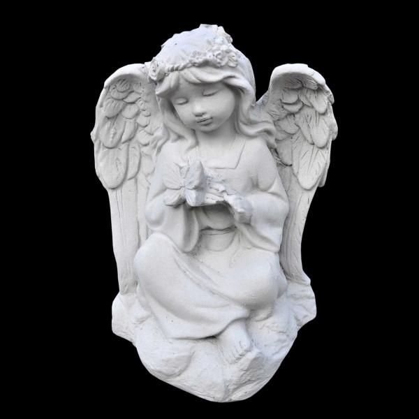 Steinguss Engel mit Schmetterling