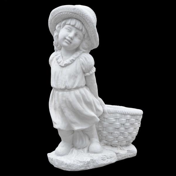 Steinguss Figur Mädchen zieht Korb