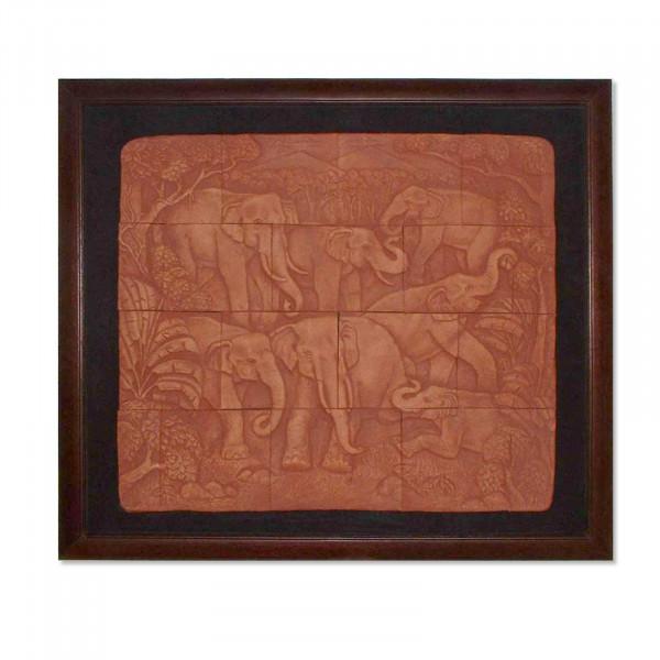 Tableau d'éléphant en bois fait à la main