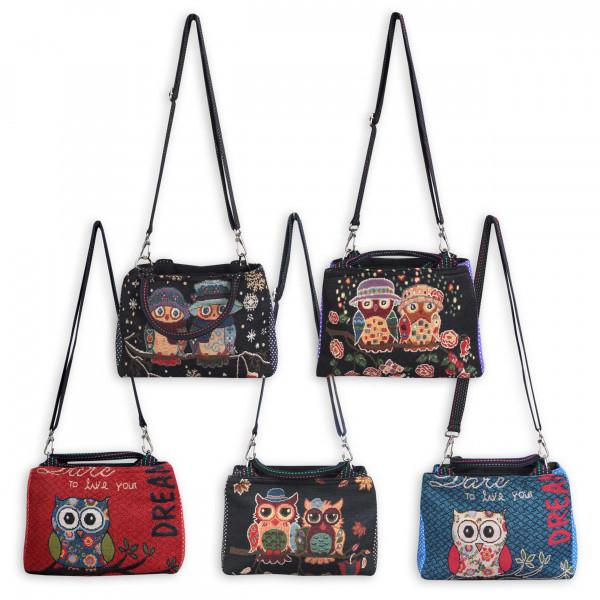 Handtasche mit Eulenmotiv und 2 Reißverschlussfächern