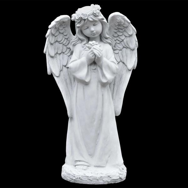 Steinguss Figur Engel mit Rose
