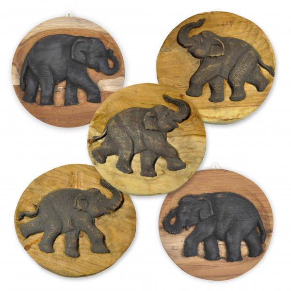 Handgefertigtes Elefantenbild Durchmesser 20 cm