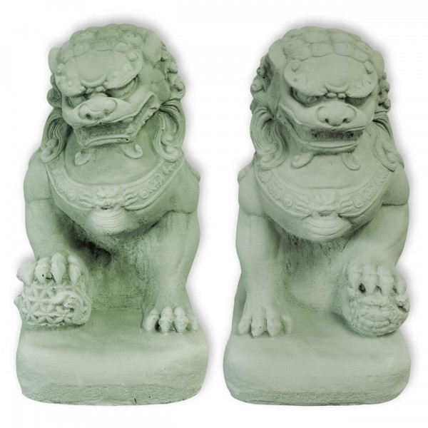 Fu-Hund 32 cm hoch | Portal Löwe | Tempel Löwe grün - STEINGUSS