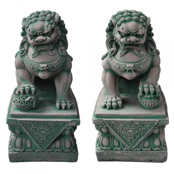 Fu-Hund 44 cm hoch | Portal Löwe | Tempel Löwe rot/grün patiniert - Sandstein