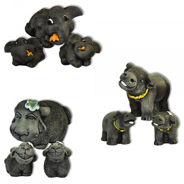 Set de 3 éléphants / moutons / buffles