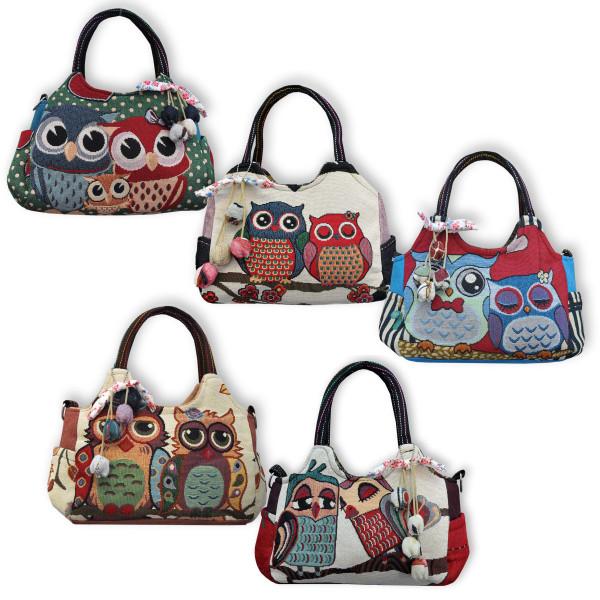 Handtasche mit Eulenpaar/Eulenfamilie Übersicht