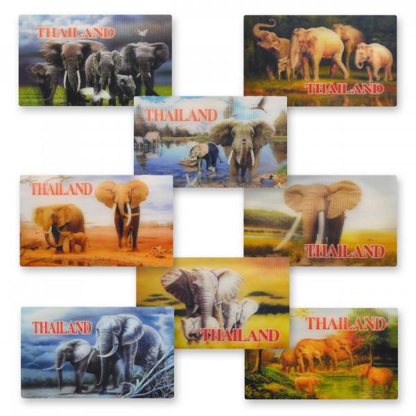 Flat magnet various elephant motifs with 3D effect - Dimensions: 9x5,5 cm