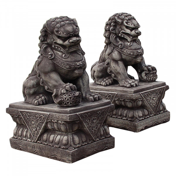 Fu-Hund 44 cm hoch | Portal Löwe | Tempel Löwe grau - Sandstein