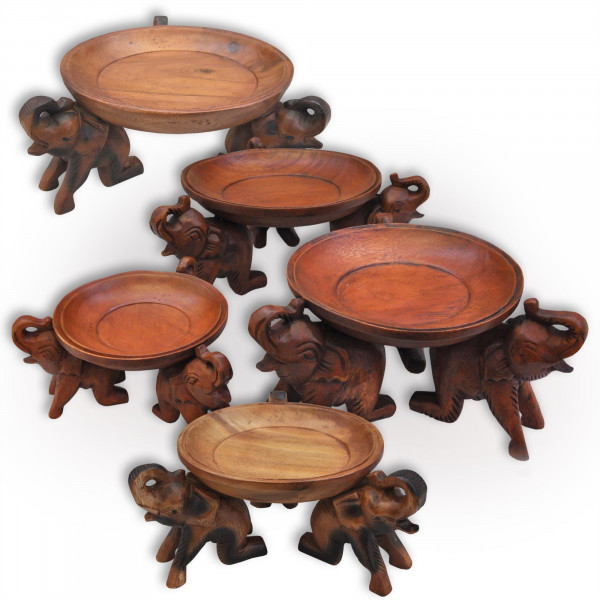 Coupelle Eléphants en bois