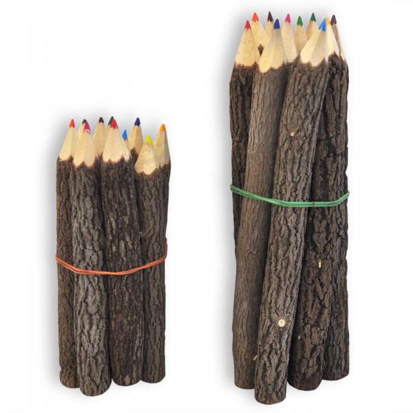 Crayons de couleur en bois naturel
