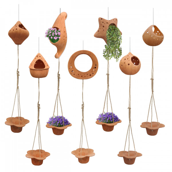 Set of 2 suspended terracotta pots