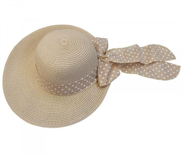 Damenhut mit dekorativer Schleife beige