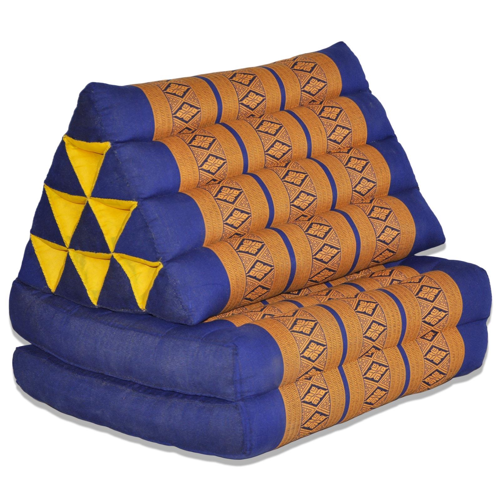 coussin triangle assise 2 plis bleu jaune. Black Bedroom Furniture Sets. Home Design Ideas