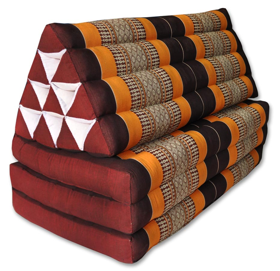 coussin triangle xxl pliable matelas 3 plis marron orange. Black Bedroom Furniture Sets. Home Design Ideas
