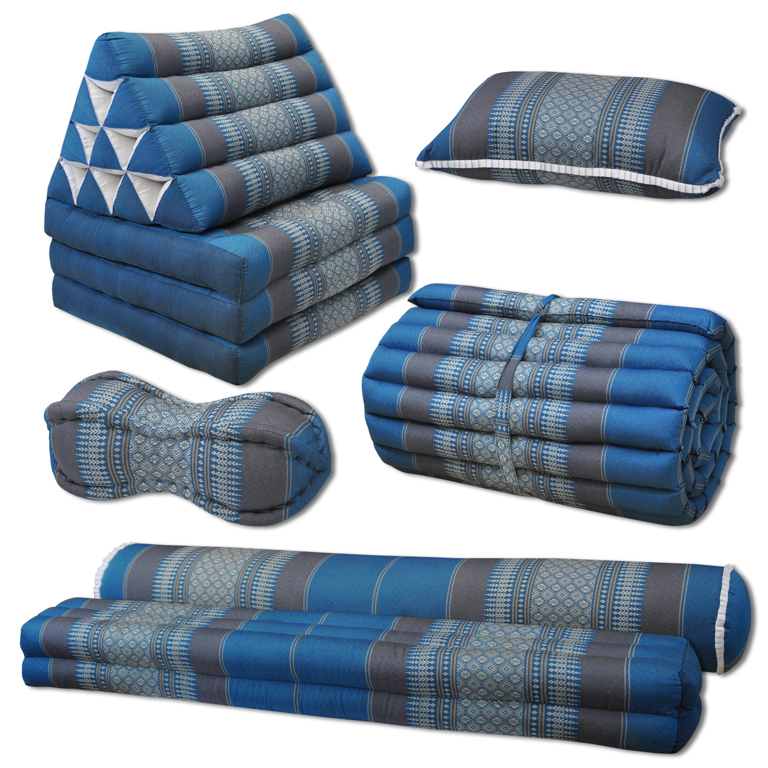 thaikissen sofa blau grau. Black Bedroom Furniture Sets. Home Design Ideas