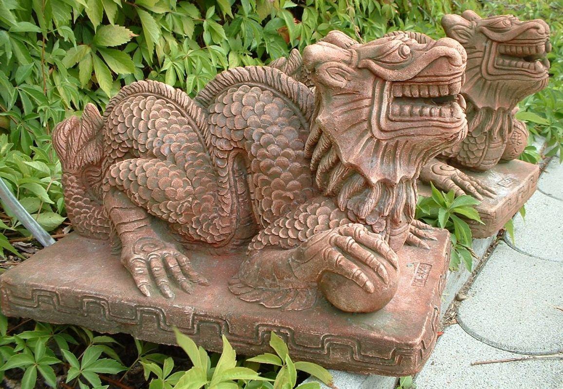 Drachen gartenfigur sandstein gartendeko deko brunnen art ebay - Gartendeko brunnen ...