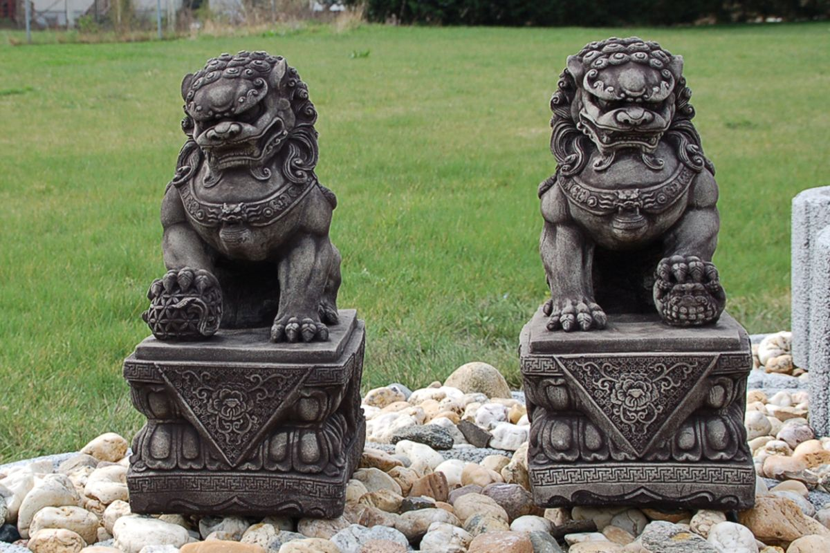 chien fu foo lion chinois thailande statue feng shui d co ext rieure 10831 ebay. Black Bedroom Furniture Sets. Home Design Ideas