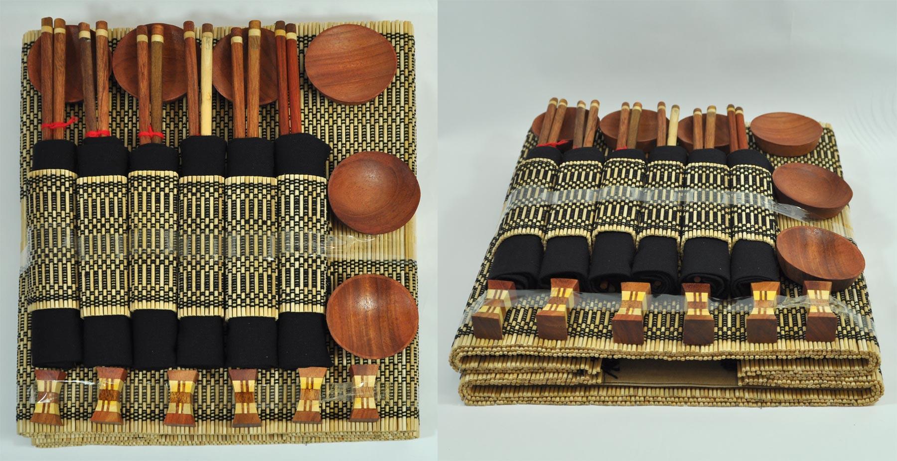 sushi set f r 6 personen 36 teilig sushi geschirr holz. Black Bedroom Furniture Sets. Home Design Ideas