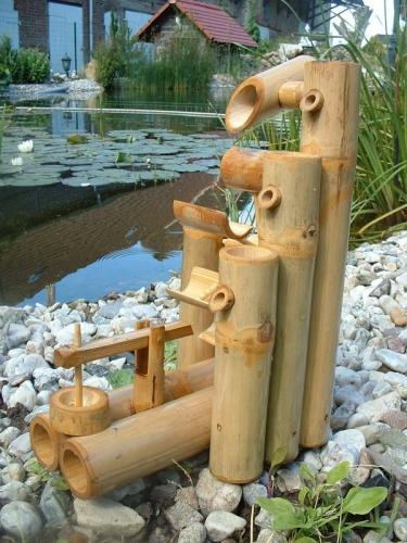 Fontaine bambou, cascade jeu d'eau décoration jardin patio ...