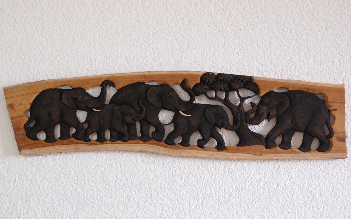 ภาพไม้แกะสลักรูปช้าง 5